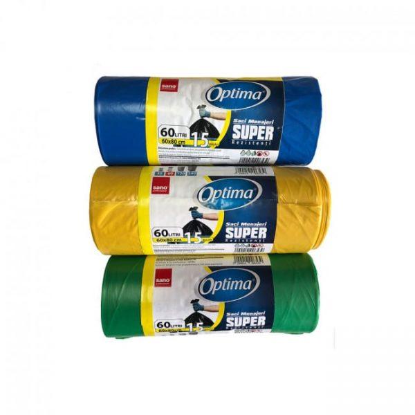 Saci menaj 60L,15 buc, 60*80 Sano Optima Super div.culori LDPE