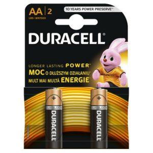 Baterii alcaline AA, R6, Duracell Basic, 1,5 V, blister 2 baterii