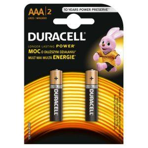 Baterii alcaline AAA, R3, Duracell Basic, 1,5 V, blister 2 baterii