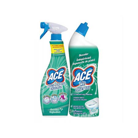 Pachet curatenie Spray Universal Ace 650 ml + Decalcifiant Ace WC Gel 700ml