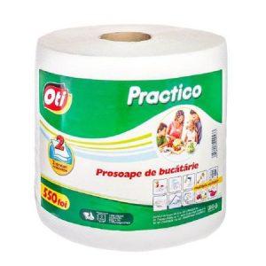 Rola Prosoape Albe de Bucatarie OTI Practico, 2 Straturi, 22x19 cm, 550 Foi/Rola
